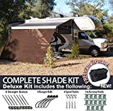 RV Awning Shade Motorhome Patio Sun Screen Complete Deluxe Kit (Brown) (8x12)