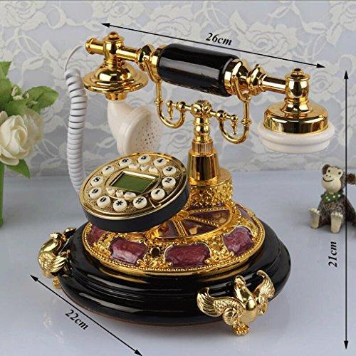 Hongyan phone tastiera in resina quadrante telefono antico vintage europeo soggiorno camera da letto retro telefono fisso suonerie meccaniche yhx (colore : oro)