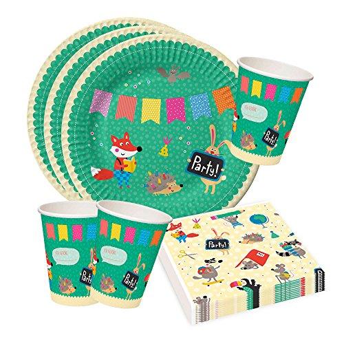 Fiesta de cumpleaños para niños o fiesta, multicolor, divertido, animales, platos y vasos de papel Servilletas, cumpleaños infantil, mesa decoración Set 36piezas