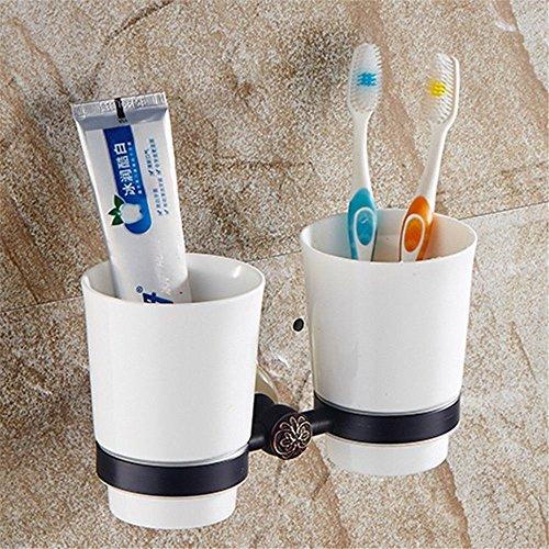 LHbox Tap Schwarz 古 Volle Messing Handtuchhalter Handtuchhalter Jade Badetuch Rack Racks Badezimmer Suite, Zahnbürste Becher -