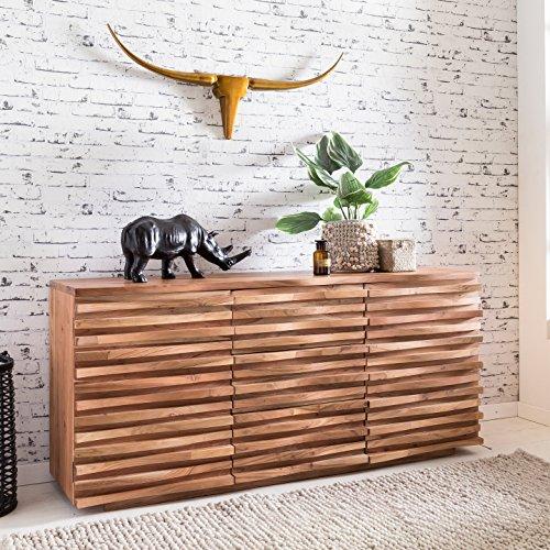 FineBuy Sideboard KANA 160 x 75 x 43 cm Massiv-Holz Akazie Natur Baumkante Anrichte | Landhaus-Stil Kommode mit Schubladen & Türen | Flur Schrank Standschrank (Sideboard Holz)