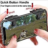 Controlador de Juego Móvil (Versión más Reciente), Controlador de Juegos de Teléfono Celular Botones de Disparo y Apuntar Sensibles Botones de Disparo L1R1 para PUBG / Cuchillos Out / Rules of Survival Compatible con Android e iOS (1 par)