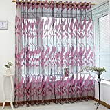 #4: Tomtopp 2m Wheat Sheer Curtain Tulle Window Voile Drape Screen Home Decor(Rose Red)