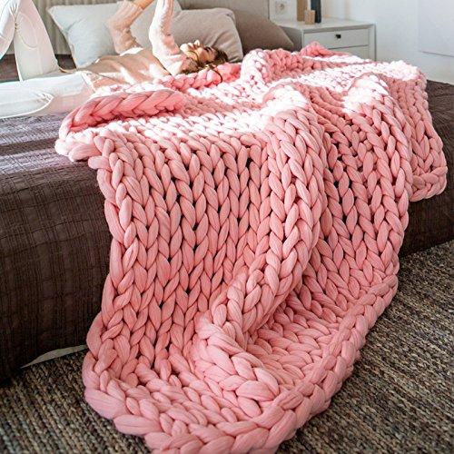 Chunky Gestrickte Decke Handgemachte Gehäkelte Gestrickte Decke Warme Winter Sofadecke Decke Thick Thread Decke Gestrickte Quilt Für Bett Wohnzimmer Yoga Teppich-Dekor,Pink-80*100cm (Chunky Garn Muster)