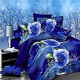 3D Blau Rose Bettbezug Tröster Doppelbett Bettwäsche Set 4