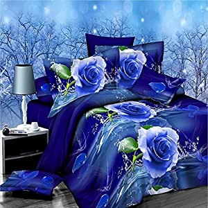 3d Blue Rose Duvet Cover Comforter Double Size Bedding Set