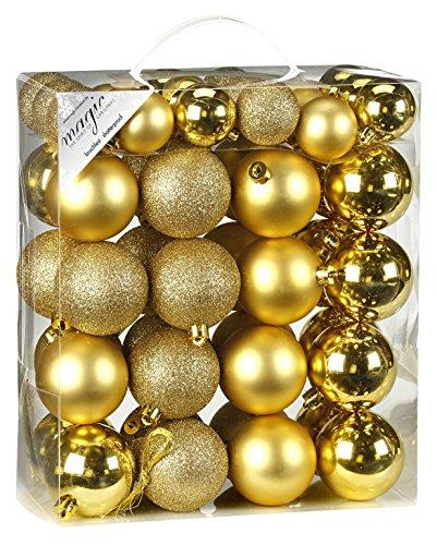 Inge-glas 770201-MO Kunststoff-Kugelbox 50 teilig, 18 x 4 und 32 x 6 cm, Gold