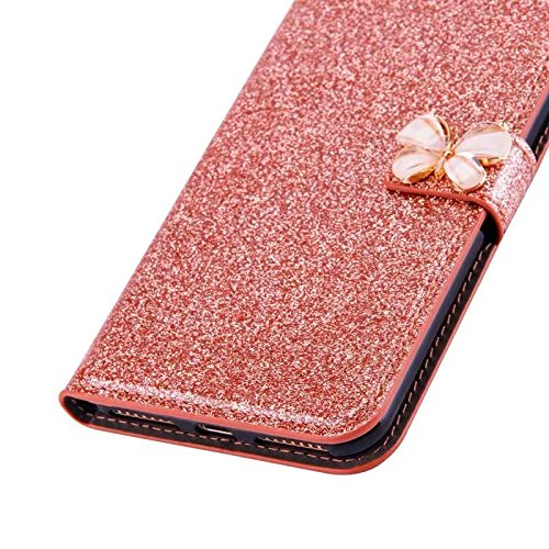 Custodia per iPhone 5 5S SE 4 Cover in Pelle Portafoglio, Funyye Lusso Eleganza [Diamante Perla] Design Incorporare Affascinante Flip Wallet Case Bello Scintillante PU Leather Shell Skin Bumper + 1 x #7 Oro Rosa