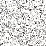 Fabulous Fabrics Ausmalstoff Popeline Wimmelbild - Weiss -