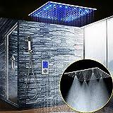 ONLT 20 Pouces Set de douche thermostatique à LED, système de douche de salle de bains 3 fonctions en acier inoxydable 304, Touch Display intelligent numérique, douche de pluie, douche de brume SPA, set de douche douche à main mural