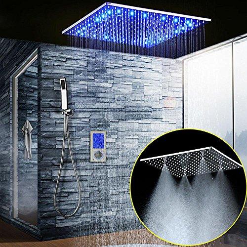 ONLT Juego de ducha termostática LED de 20 pulgadas, sistema de ducha de 304 inoxidables con 3 funciones de baño, Pantalla táctil digital inteligente, Ducha de lluvia, Ducha de niebla SPA, Juego de ducha Ducha de mano montada en la pared