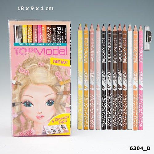 TOPModel Buntstiftset, Haut- und Haartöne Buntstifte 12 Stifte weiß braun rosa orange schwarz