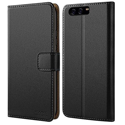 Huawei P10 Hülle, HOOMIL Handyhülle Premium Leder Tasche Flip Case Schutzhülle für Huawei P10 - Schwarz (H3061) (10 Leder Schwarz)