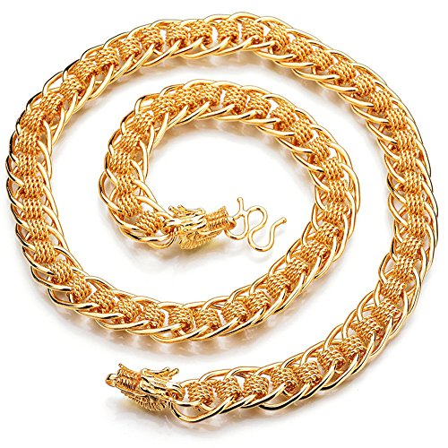 Qiao la larghezza unisex hip hop Dragon collana stile punk catena lunga 61  cm, style 010bcec3271