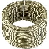 Connex DY2701391 Mehrzweck Drahtseil Kunststoffummantelt mit Textilfaserseele, 30 m x 4 mm, verzinkt