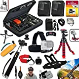 Xtech Deluxe 23 Piece Accessory Kit for GoPro HERO4 Hero 4 Digital Camera Includes Head Strap Mount, Chest Strap Mount, 16GB High Speed Memory Card + 2 AHDBT-401 Batteries, Quick Dual Charger, 12 inch Highly Flexible Tripod, Custom Large size Case, Hand Held Monopod, Floating Bobber Handle + Remote Wrist Strap + Floating Foam Strap + Universal Card Reader + Mini Table Tripod + Ultra Fine HeroFiber Cleaning Cloth