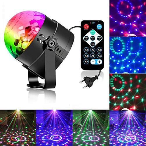 Zacfton Mini LED Lichteffekte Disco Licht Party Licht Bühnenbeleuchtung 3W RGB Sprachaktiviertes Kristall Magic Ball Bühnenlicht für KTV Xmas Party Hochzeits-Show Club mit Fernbedienung (105 T Batterie)