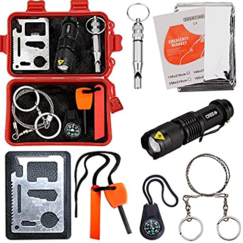 Survival Kit CEEBON Outdoor Emergency Tool Kit for Camping Hiking Fishing Travelling or Adventures (Pack of 8 Pieces) (Red)