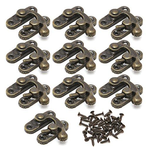 Exing 10x Antik Metall Catch Curved Schnalle Horn Lock Verschluss Haken Geschenk Schmuck Box-Eisen, Antik Messing/Gold (Antikes Messing) -