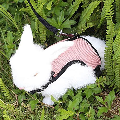 Verstellbares Weiches Kaninchen Geschirr mit Elastischer Leine für Kleines Tier Kitty Haustier Geschirr und Leine für Häschen Katze Little Pet Walking (L(Brust 28 -35cm), Rosa)