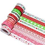 K-LIMIT 10er Set Washi Tape Dekoband Masking Tape Klebeband Washitape Scrapbooking DIY Weihnachten Merry Christmas Rot 8755