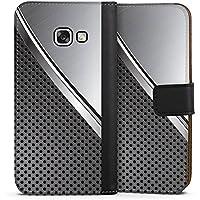 Samsung Galaxy A3 2017 Tasche Leder Flip Case Hülle Carbon Metall Look