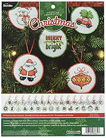 Bucilla Kreuzstich Mini Ornament Kit, 86672 Weihnachten (Set of