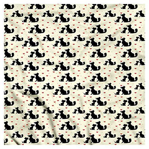 Red and Black Bandana, Dog Cat Pet Love, Unisex Head and Neck Tie Head and Neck Tie Neckerchief Headdress Silk-Like 100% Polyester -