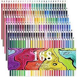 168 lápices de colores vibrantes Set Lápices de colores preafilados; Set puede usarse en libros de colorear para adultos para crear los dibujos artísticos y los esbozos