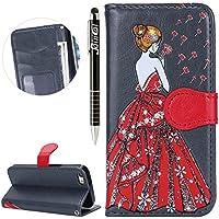 iPhone SE Hülle,iPhone 5S Hülle,iPhone SE/5S Ledertasche Handyhülle Brieftasche im BookStyle,SainCat Retro Bling... preisvergleich bei billige-tabletten.eu