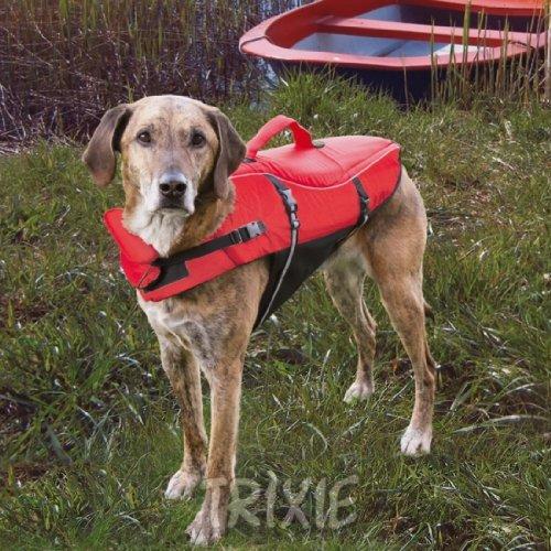 Trixie 30141 Schwimmweste, für Hunde, XS: 26 cm/max. 12 kg, rot/schwarz