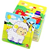 PROW® Rompecabezas de madera 16 piezas niños cuadrados juguete Elefante Panda Cachorro Pequeño cordero Nave Tren Aviones Gans