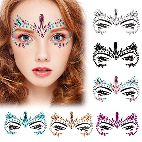 Kapmore Gesicht Edelsteine, 6 Stück Strass Gesicht Juwelen Tattoo Festival Rave Eyes Stirn Sticker Für Halloween