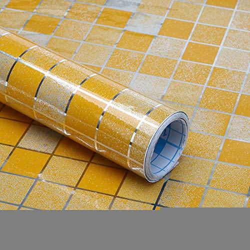 ahllwei Creative Kitchen Haube Wasserdicht Aufkleber Mosaik Kleine Quadratische Rauchschutz Kann Reinigungsaufkleber Schrubben 45 * 400cm Orange Yellow -