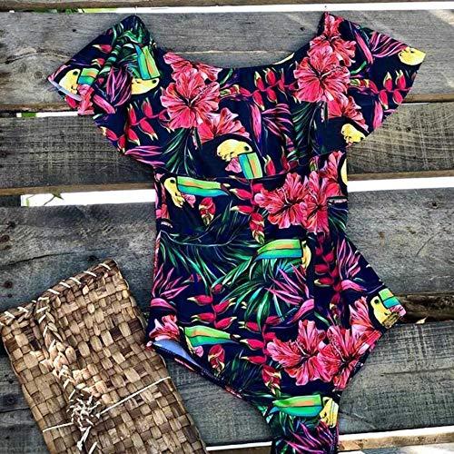 XUANYA Badeanzug Bademode Frauen Badeanzug Verband Bodysuit Monokini Beachwear Badebekleidung Badesachen Strand Sommer Femme Fashion Vintage Rüschen, XL -