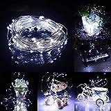 Prevently LED Lichterkette, Weihnachts-Deko 40 LEDs Lichterkette Solarenergie LED Laterne Blinkendes Schnurlicht für Weihnachten, Partys, BBQ, Hochzeiten oder Andere Partydekorationen 4 Meter (Weiß)