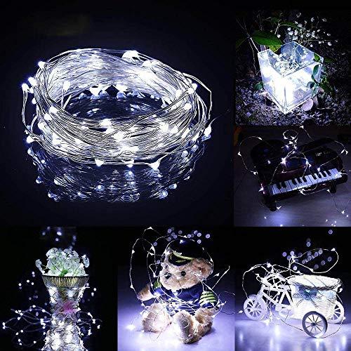 Prevently LED Lichterkette, Weihnachts-Deko 40 LEDs Lichterkette Solarenergie LED Laterne Blinkendes Schnurlicht für Weihnachten, Partys, BBQ, Hochzeiten oder Andere Partydekorationen 4 Meter (Weiß) (Licht Weihnachten Blinkende Kette)