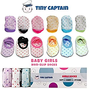 Baby Socks For Toddler Girls With Non Skid, Best Gift For 1-3 Year Old Girl, Anti Slip Grip Sock From Tiny Captain (Pink, Blue, Green, Yellow, Purple, White) …