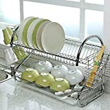 chinkyboo 2 Tiers 'S' Shape Chrome Rust-proof Kitchen Dish Cup Drying Rack Drainer Dryer Tray Cutlery Holder Organizer