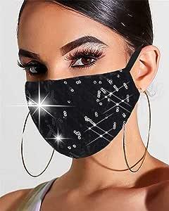 Simsly Mascherina per viso con paillettes, antipolvere e anti-appannamento, lavabile, riutilizzabile, per Halloween, per donne e ragazze