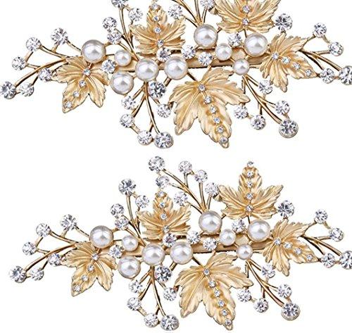 Tanz Kostüm Modellierung - CYY Damen Legierung Perle Braut Schmuck dumm Gold Rhinestones feine Nadel Mund Clip Braut Kopfschmuck Kostüme
