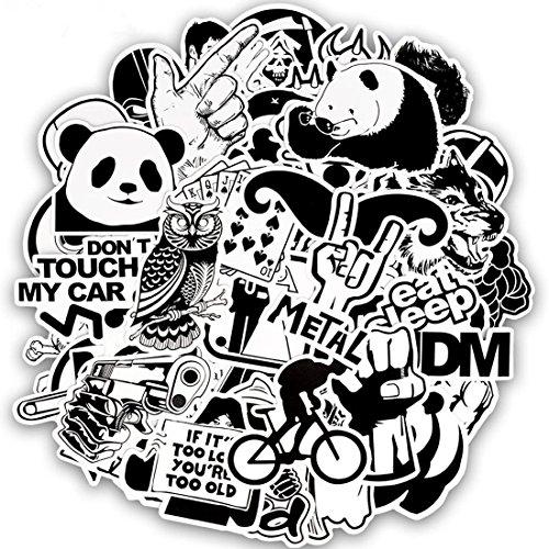 FEZZ 100pcs Graffiti Pegatinas Mezclado Aleatorio Blanco Negro Dibujos Animados...
