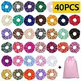 40 Piezas Scrunchies de Satén para Cabello, Glossy Hair Scrunchies Lazos Elásticos de Satén para el Cabello Ponytail Holder Headbands para Mujeres y Niñas, 40 Colores