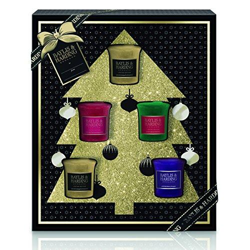 Baylis & harding, set di candele votive in confezione regalo natalizia, collezione albero di natale