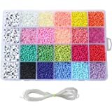 Seed Beads, 3300 PCS Letter Beads and Pony Beads 24-Grid Craft Bead with Rope Mini Seed Beads Set for Jewelry Making Bracelet