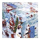 WACHSTUCH Tischdecken Wachstischdecke Gartentischdecke, Abwaschbar Meterware, Weihnachtsdorf, Winterliche Landschaft mit Weihnachtsmotiven (228-00) 160cm x 140cm