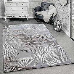 Alfombra Diseño Moderna Estampado Palmeras Gris Beige Crema, (Varias medidas) 200 x 290 cm