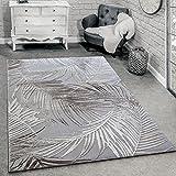 Paco Home Designer Teppich Modern Wohnzimmer Teppiche 3D Palmen Muster In Grau Beige Creme, Grösse:200x290 cm
