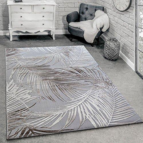 Paco home tappeto di design moderno soggiorno 3d motivo palme in grigio beige crema, dimensione:80x150 cm
