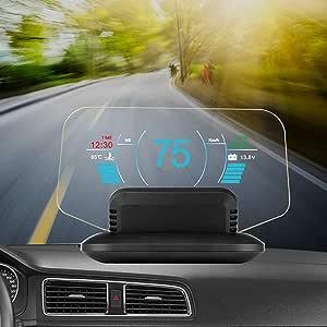 Lmeil Head Up Display Auto Hud Spiegelanzeige Obd Ii Gps Dual System Hud Richtung Geschwindigkeit Übergeschwindigkeitswarnung Kilometerstandmessung Wassertemperatur Für Alle Fahrzeuge Küche Haushalt